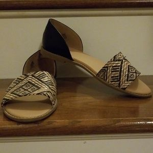 Old Navy woven peep toe flats size 9